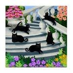 5 BLACK CATS stairway Tile Coaster