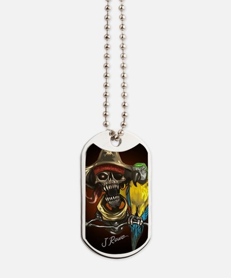 J Rowe Pirate and Parrot Black Background Dog Tags