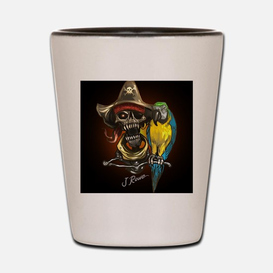 J Rowe Pirate and Parrot Black Backgrou Shot Glass