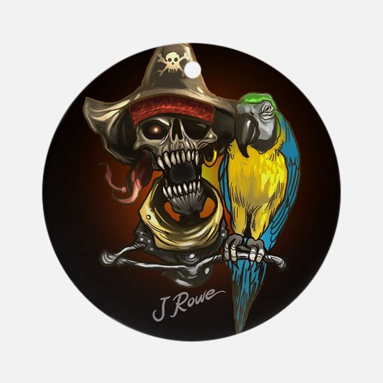 J Rowe Pirate and Parrot Black Back Round Ornament