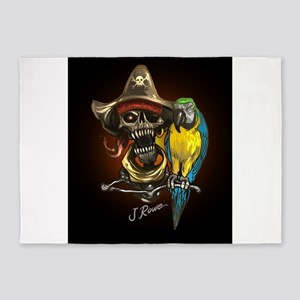 J Rowe Pirate and Parrot Black Back 5'x7'Area Rug