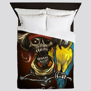J Rowe Pirate and Parrot Black Backgro Queen Duvet