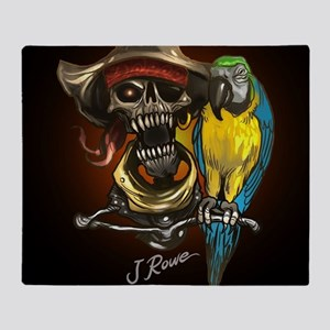 J Rowe Pirate and Parrot Black Backg Throw Blanket