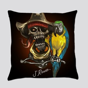 J Rowe Pirate and Parrot Black Bac Everyday Pillow