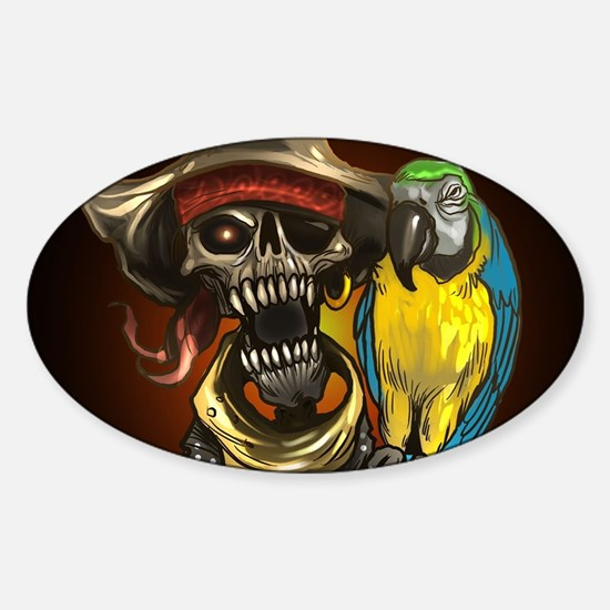 J Rowe Pirate and Parrot Black Background Decal