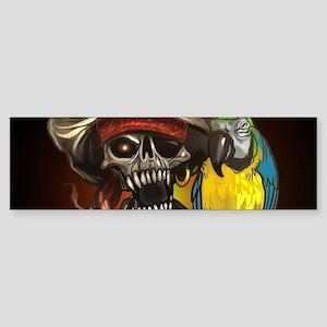 J Rowe Pirate and Parrot Black Back Bumper Sticker