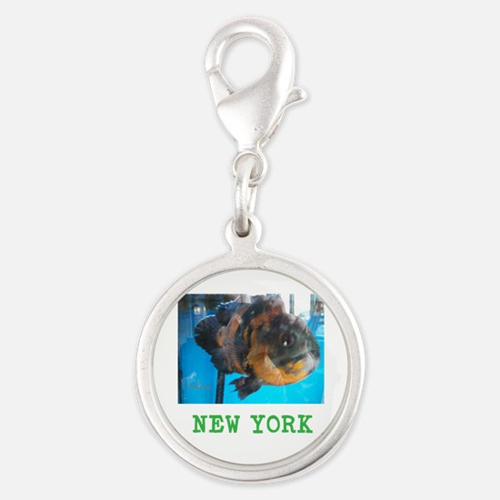New York Avins Fish. Silver Round Charm Charms