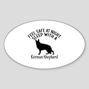 Sleep With German Shepherd Dog Desi Sticker (Oval)