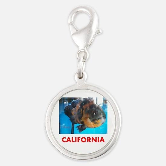 California Avins Fish. Silver Round Charm Charms