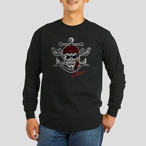 J Rowe Skull Crossed Swor Long Sleeve Dark T-Shirt
