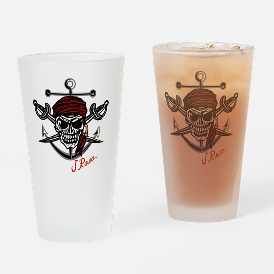 J Rowe Skull Crossed Swords Drinking Glass
