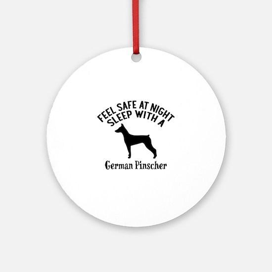 Sleep With German Pinscher Dog Desi Round Ornament