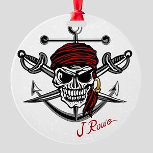 J Rowe Skull Crossed Swords Round Ornament