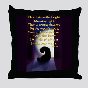 Ode to a Black Cat Throw Pillow