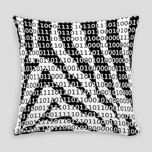 Black and White Zebra Binary Code Everyday Pillow