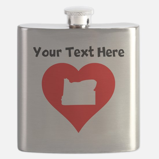 Oregon Heart Cutout Flask