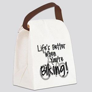 Lifes Better When Youre Biking Canvas Lunch Bag