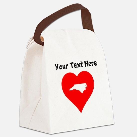 North Carolina Heart Cutout Canvas Lunch Bag