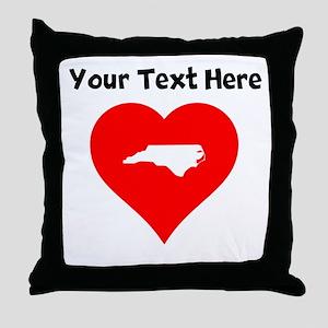 North Carolina Heart Cutout Throw Pillow