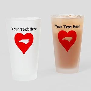 North Carolina Heart Cutout Drinking Glass