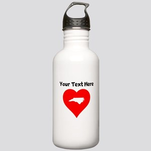 North Carolina Heart Cutout Water Bottle