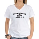 USS GROUPER Women's V-Neck T-Shirt