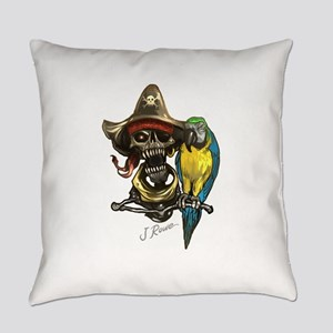 J Rowe Pirate & Parrot Everyday Pillow