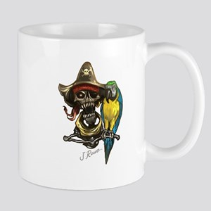J Rowe Pirate & Parrot Mugs