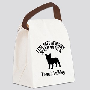Sleep With French bull Dog Design Canvas Lunch Bag