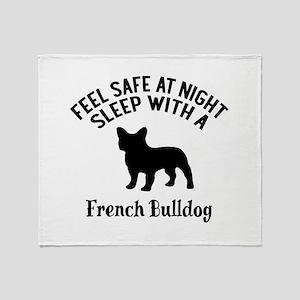 Sleep With French bull Dog Designs Throw Blanket