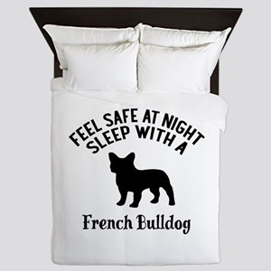 Sleep With French bull Dog Designs Queen Duvet
