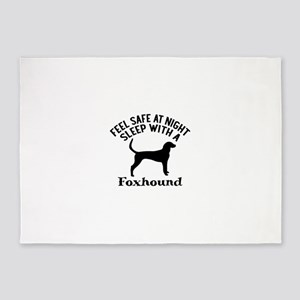 Sleep With Foxhound Dog Designs 5'x7'Area Rug
