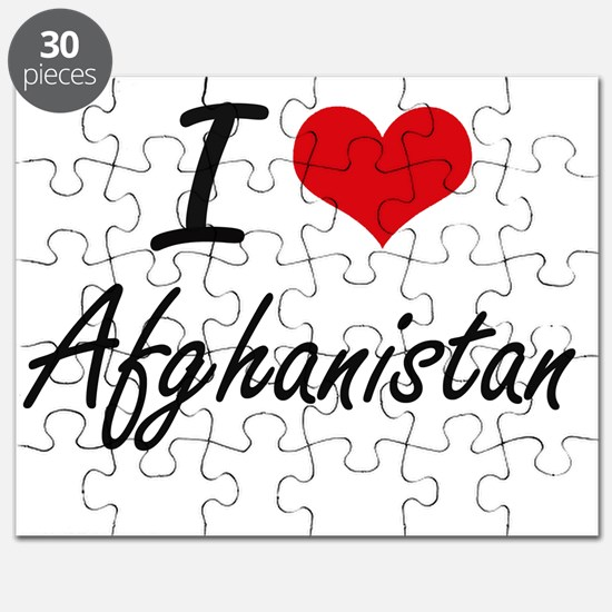 I Love Afghanistan Artistic Design Puzzle
