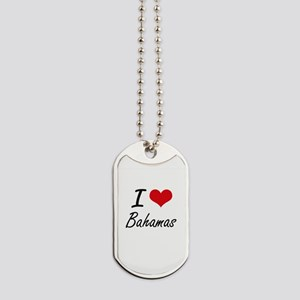 I Love Bahamas Artistic Design Dog Tags