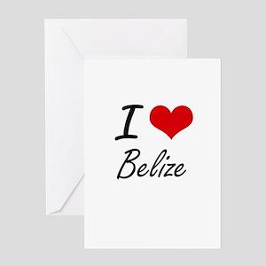 I Love Belize Artistic Design Greeting Cards