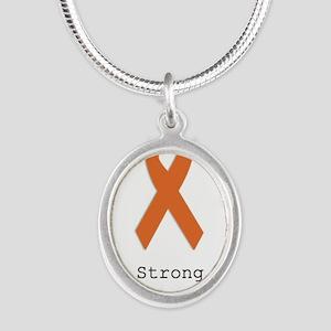 Strong. Orange ribbon Necklaces
