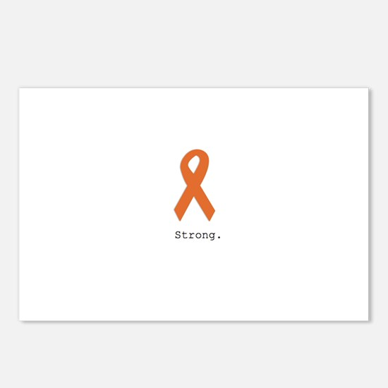 Strong. Orange ribbon Postcards (Package of 8)