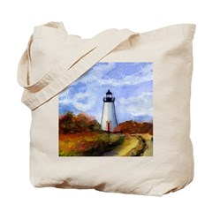 Martha's Vineyard Lighhouse Tote Bag (Square)