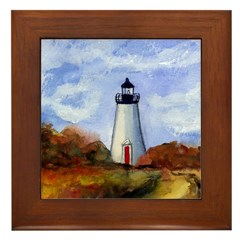 Cape Pogue Lighthouse Framed Tile