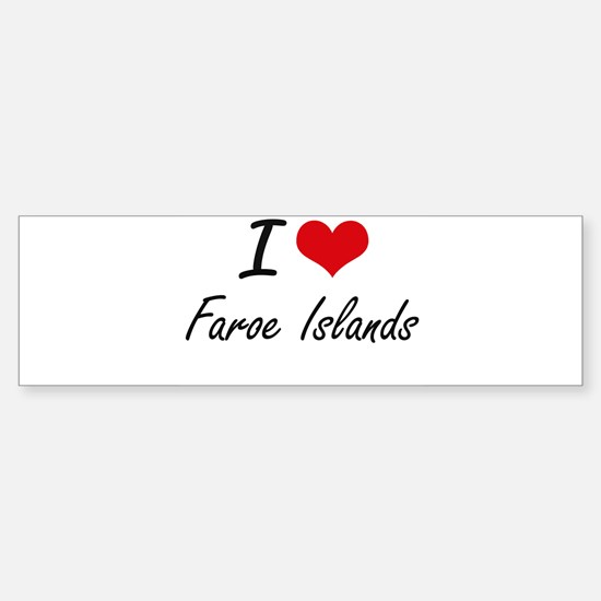 I Love Faroe Islands Artistic Desig Bumper Car Car Sticker