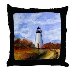 Cape Pogue Lighthouse Throw Pillow