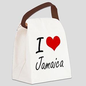 I Love Jamaica Artistic Design Canvas Lunch Bag