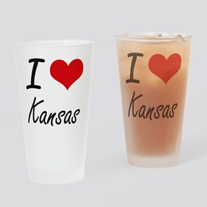 I Love Kansas Artistic Design Drinking Glass