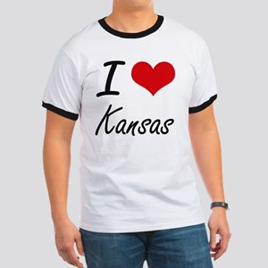 I Love Kansas Artistic Design T-Shirt