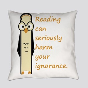 Cute Book Owl Reading Quote Everyday Pillow