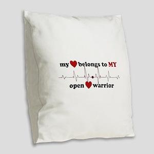 my heart belongs to MY open he Burlap Throw Pillow