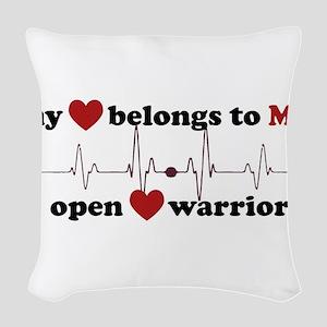 my heart belongs to MY open he Woven Throw Pillow