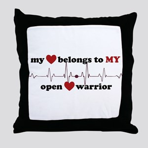 my heart belongs to MY open heart war Throw Pillow