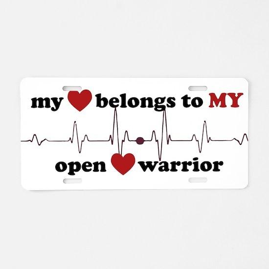 my heart belongs to MY open Aluminum License Plate