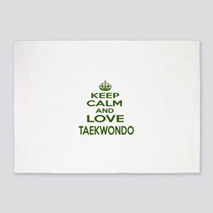 Keep calm and love Taekwondo 5'x7'Area Rug
